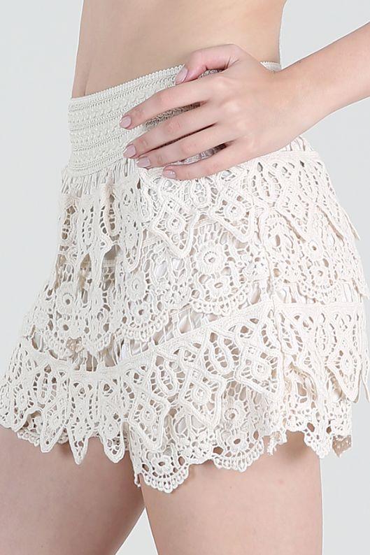 Crochet Layered Cream Shorts