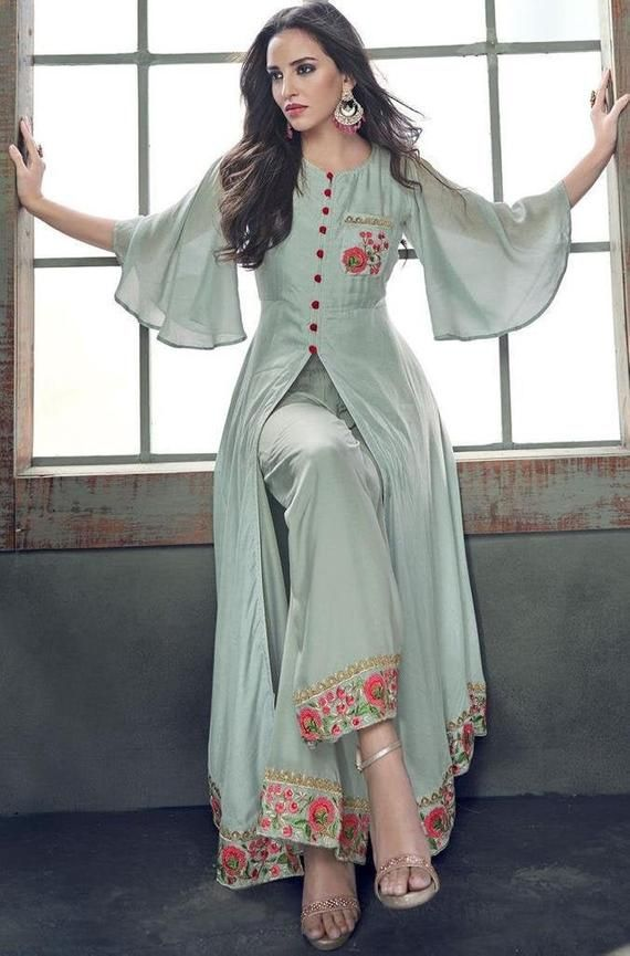 Stylish Indian Bollywood Traditional Ethnic Salwar Suit With Pant Beautiful Salwar Top With Pant Bottom For Women