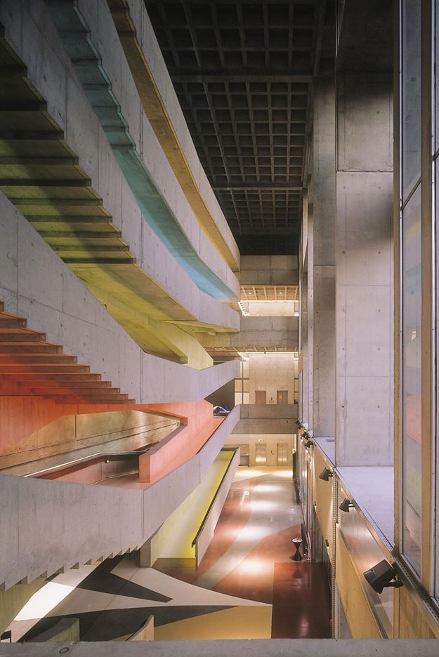 "jamesusilljournal: "" Centre National de la Danse, Paris, Designed by architects Jacques Kalisz & Jean Perrottet, 1965, staircase light by Hervé Audibert """