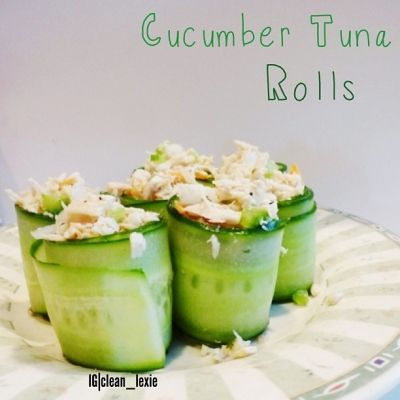 Ripped Recipes - Cucumber Tuna Rolls - I had these today, and they were really good! I used cucumber strips instead of wraps, and I loved it! I really recommend trying cucumber strips as your wrap.