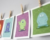 Monster Children's Wall Art Prints - Set of 3 Cute Monsters Children's Wall Decor (You Choose The Monsters) - 5 x 7 Prints