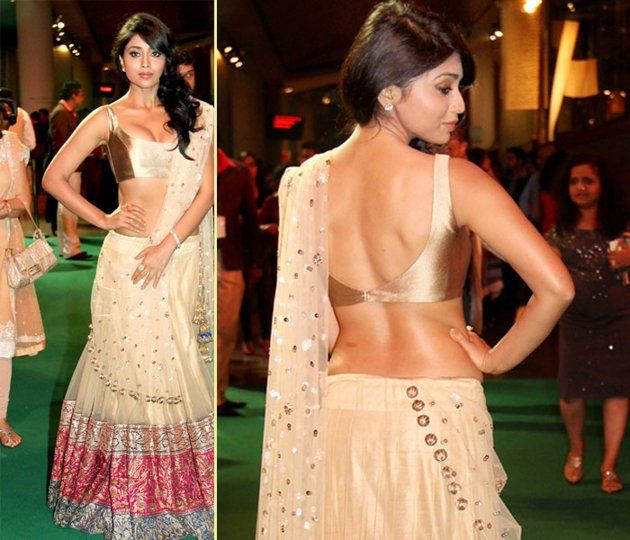 Sexy backless blouse with Saree