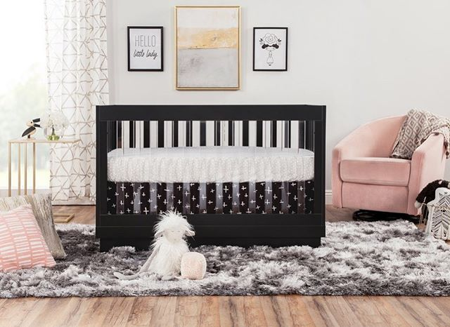 For All You Glam Mamas Out There Babyletto Harlow Crib In Black Madison Glider In Blush Pink Velvet Cribs Convertible Crib Toddler Bed