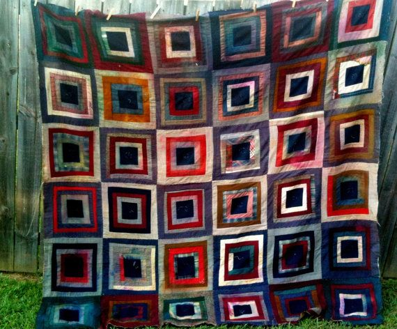 Antique Vintage Quilt 1900 Log Cabin Wool  Kentucky by themuseinme, $299.00