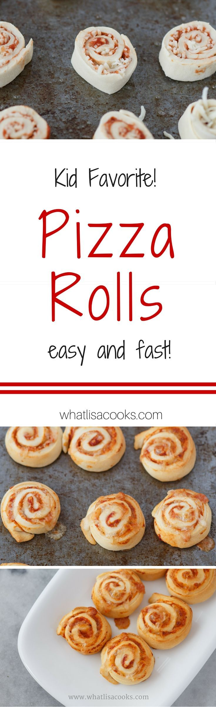 Pizza Rolls - on the table in 20 minutes. a crowd pleasing dinner or lunch recipe! These freeze great and are great for school lunch packing.