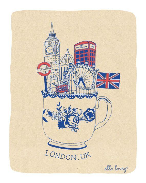 London+Teacup+Art+Print++8x10+by+ellolovey+on+Etsy,+$19.00