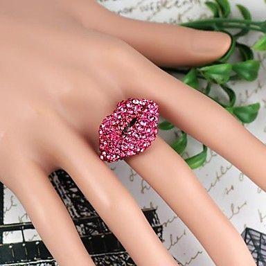 lip patroon metalen met volledige kunstmatige diamanten ring verstelbare moerbei (1st) - EUR € 3.99