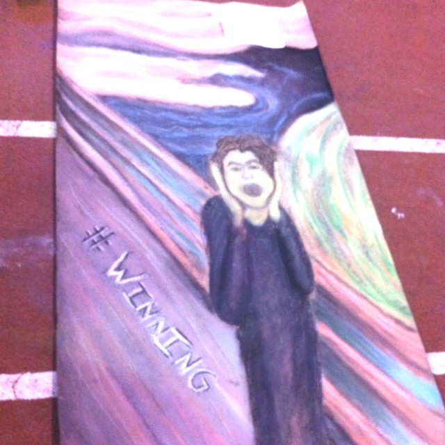 We made a mural of the scream with charley sheen! Ha