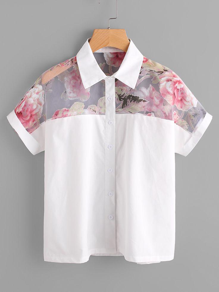 Blusa floral de malla de canesú -Spanish SheIn(Sheinside)