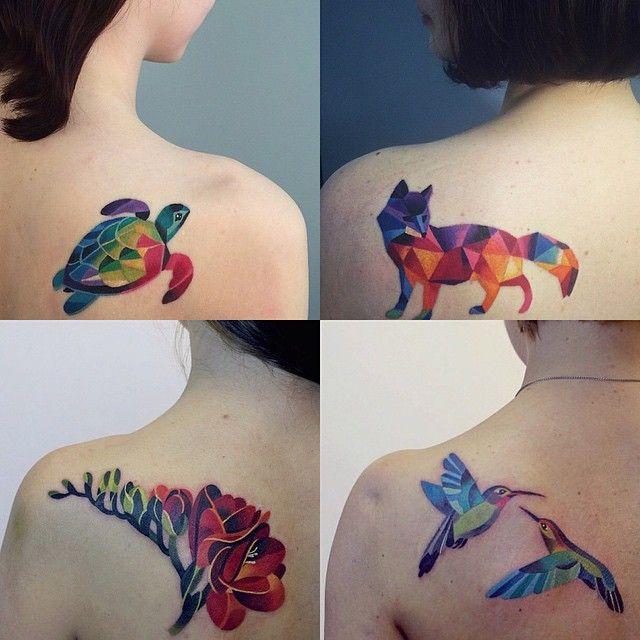Geometric tattoos! Via Instagram user @sashaunisex