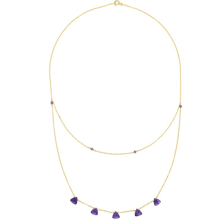 Fantastic trilliant cut amethysts sparkle mysteriously in a deep and rich indigo colour on this fine 24k gold vermeil necklace.  The unusually cut stones have excellent clarity and deep colour. The minimalist design accentuates the natural beauty of the stones.  The chain and fittings are made of sterling silver with an unmistakable rich colour of 24k gold plating, which reinforces the overall classy look and feel.