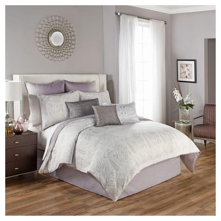 Best Gray Plum Paisley Henriette Comforter Set King 4Pc 400 x 300
