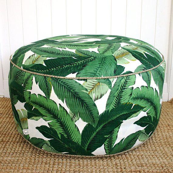 "Square Fox Green Palm outdoor pouf ottoman floor seat | Round 85cm or 33"" diameter"