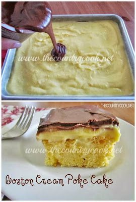 Boston Cream Poke Cake recipe | Take this to any potluck and everyone will be begging you for the recipe!! | www.thecountrycook.net