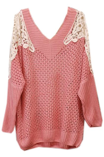 #ROMWEROCOCO. ROMWE | Hollowed Lace Shoulders Pink Jumper, The Latest Street Fashion