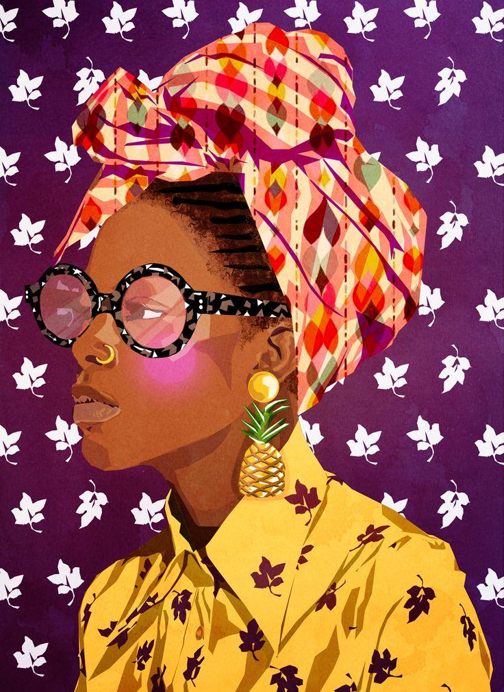 Art by Mamzelle Poppy Woman Illustration, Portrait Illustration, Texture Illustration, Black Girl Art, Black Women Art, African American Art, African Art, Art Afro, Arte Fashion