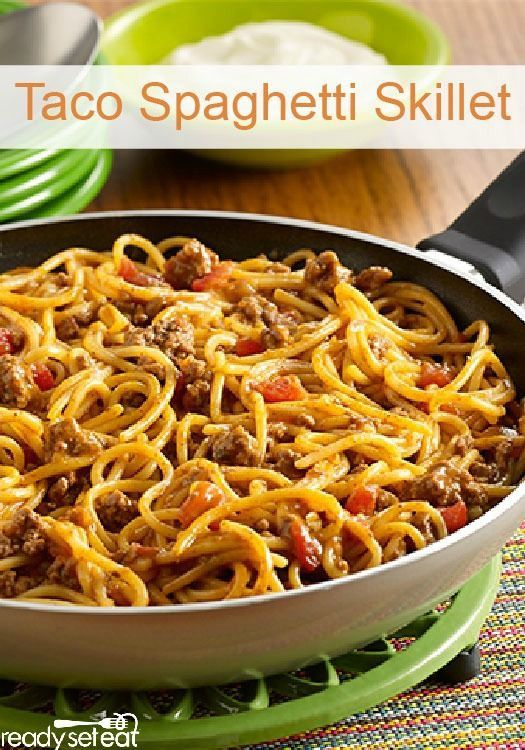 This Taco Spaghetti Skillet will be a hit at your house when you're looking for a quick dinner recipe!