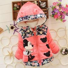2015 nieuwe winter warme meisjes luipaard jas parka's: kinderen meisjes dikke gewatteerde jas outfit met 3d bloemen bogen chilld meisje bovenkleding(China (Mainland))