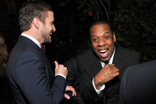"Look at these two! They're obviously celebrating how unbelievably awesome their collaboration ""Suit & Tie"" on JT's new album is. http://www.vevo.com/watch/justin-timberlake/suit-tie-official/USRV81300036"