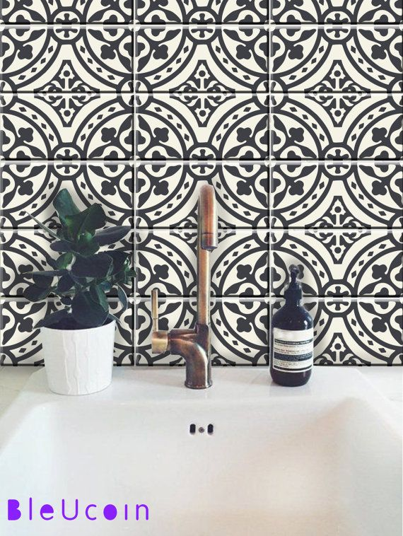 MORROCAN TILE DECAL  ● The design contains total 44 tile decals cut individually You can select the size from right side- size drop down button. Color: