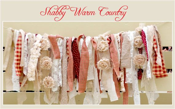 Shabby Warm Country Rag Banner by modernragquilts on Etsy, $25.00