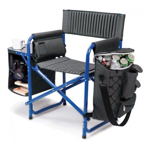 """FUSION CHAIR  This amazing folding chair is portable outdoor chair and it has a padded backpack straps. The weight of the chair can hold up to 350 lbs capacity. This Fusion chair is made of aluminum with polyester canvas.  Chair: 24"""" x 15"""" x 33"""" Cooler: 15"""" x 4"""" x 16.5"""" Table: 11"""" x 14.5""""  The Fusion Chair is a Picnic Time original, one-of-a-kind design. The Fusion chair has so many added such as extra-comfort ribbed padding in (19.5"""" wide) seat and backrest, a fold-out table with expandable…"""