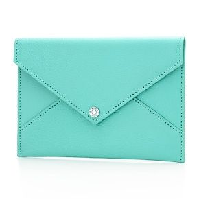 Leather envelope in Tiffany Blue® grain leather, medium. More colors available.
