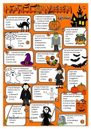 A simple multiple choice quiz to practise Halloween vocabulary. Hope you like it. Have a nice day mada :) <br />  - ESL worksheets