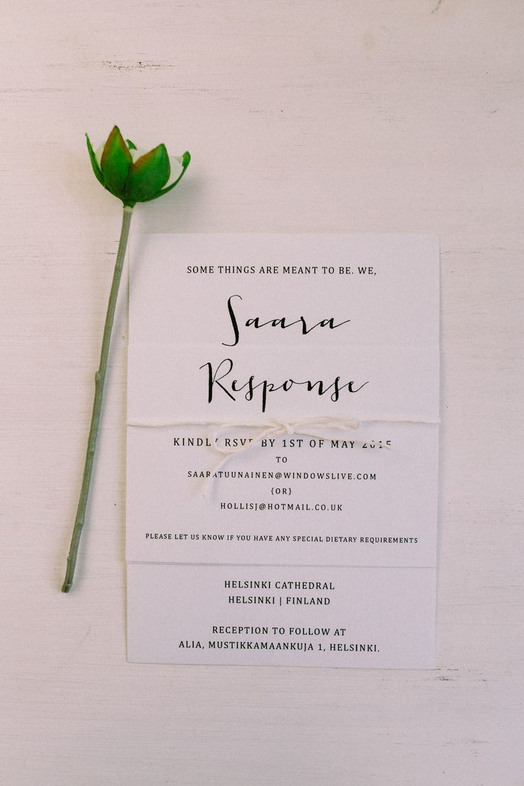 Wedding Invitations / Black and White / John and Saara's Wedding. Photography by Maria Hedengren.
