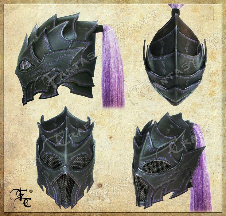 Drow or Dark Elf leather helmet by I-TAVARON-I.deviantart.com on @deviantART