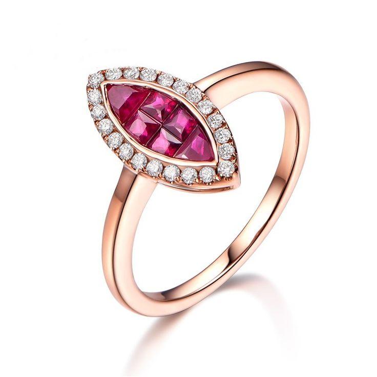 Bague Rubis et Diamant en or rose