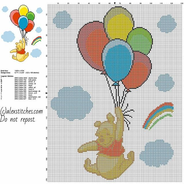 Winnie The Pooh with colored balloons free cross stitch pattern baby blanket idea 122 x 168 stitches 12 DMC threads