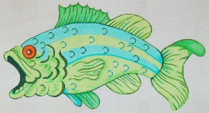 """Large-Mouth Bass   Product Code: FS06   Hand Painted Canvas   13g, 16"""" x 9"""""""