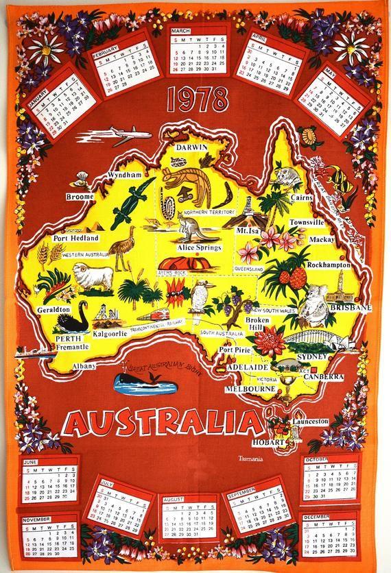 Retro 1978 Australia Calendar Map Tea Towel Capital City Sydney