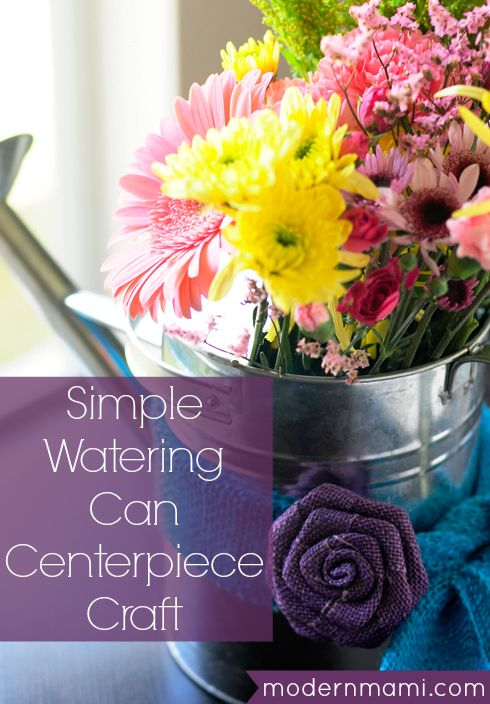 Watering Can Centerpiece Craft for #Spring #home #crafts