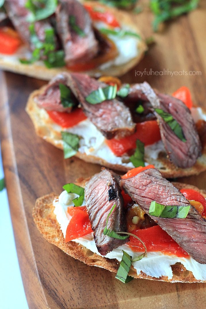 Grilled Ribeye & Roasted Pepper Bruschetta with Whipped Goat Cheese 6