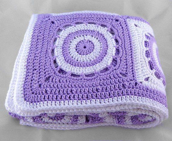 Lavender Purple White Crochet Baby Blanket Handmade