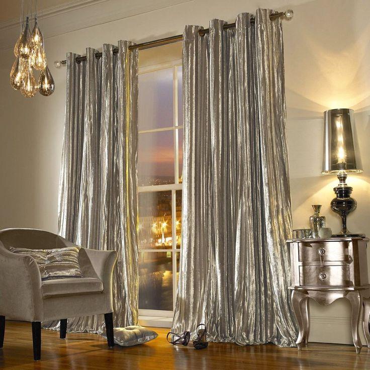"""Iliana Kylie Minogue Velvet Curtains 66"""" X 54"""" Praline Beige Eyelet Curtain Pair"""