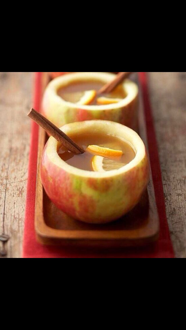 That's so cool! You take all the apple out of an apple and then you pour apple cider in a put a cinnamon stick!! So neat!: