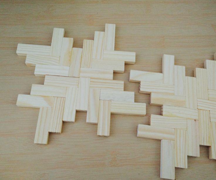 Jenga Wood Blocks Glued Together To Make Cool Placemats