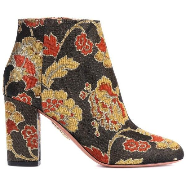 Aquazzura Brooklyn 85 Jacquard Ankle Boots ($735) ❤ liked on Polyvore featuring shoes, boots, ankle booties, bootie boots, aquazzura, aquazzura boots, ankle boots and multi colored boots