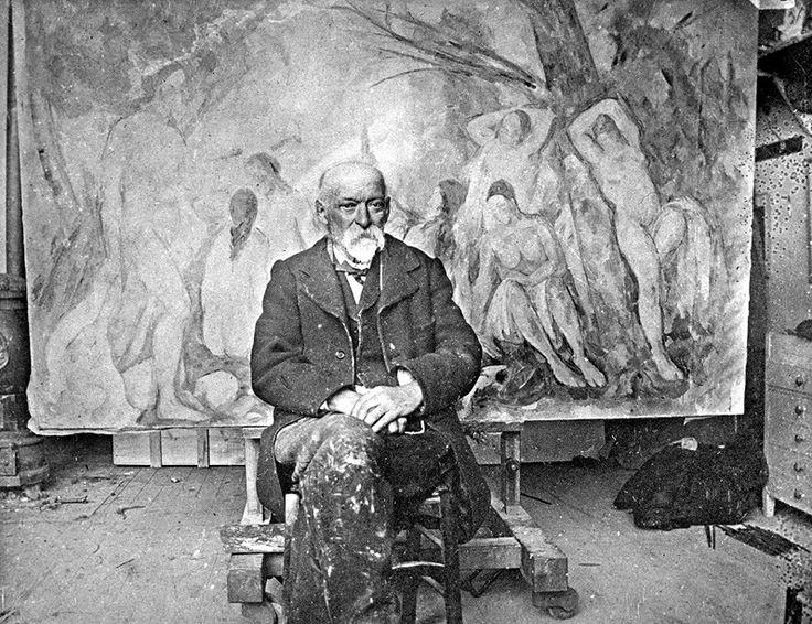 Сезанн в мастерской в Лов на фоне «Больших купальщиц». 1904. Фотография Эмиля Бернара. ( цитаты Поля Сезанна о темпераменте, гордости, почестях, глазах и интеллекте)