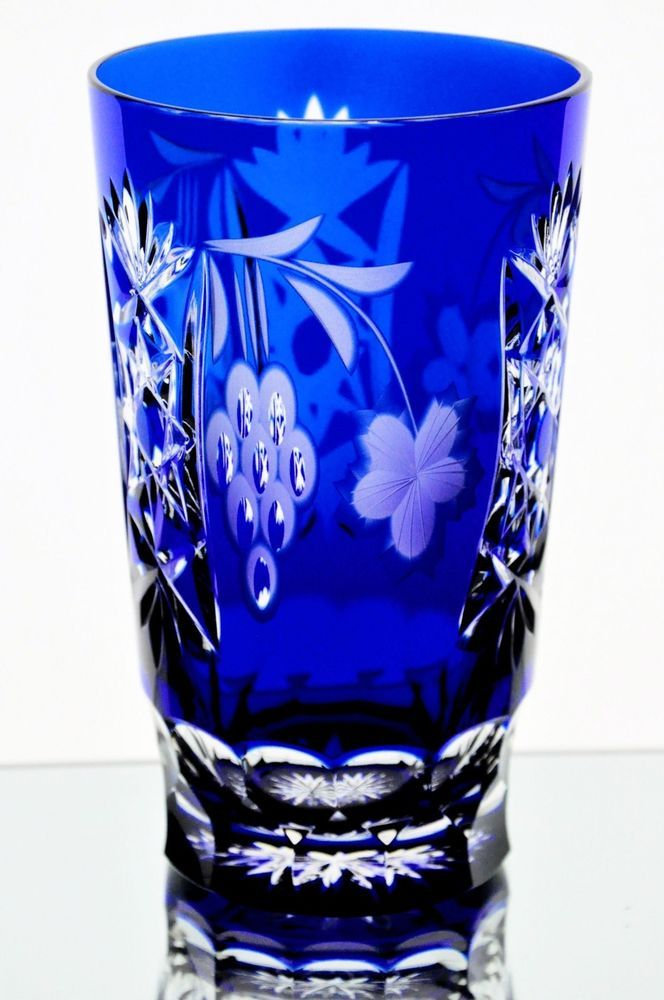 Ajka Marsala Cobalt Blue Cut to Clear Crystal Highball Water Collins Tea Glass