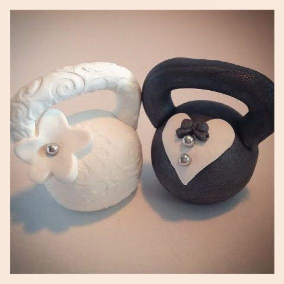 Bride and Groom Kettlebell Wedding Cake Topper by tinykettlebells