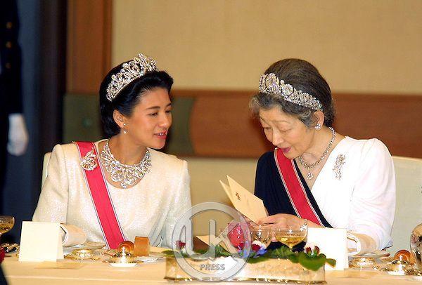 Crown Princess Masako wearing her Wedding Tiara and Empress Michiko wearing the Imperial Chrysanthemum Tiara: