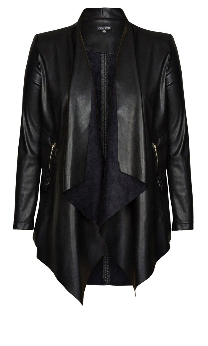 Plus Size Pleather Drape Jacket - City Chic