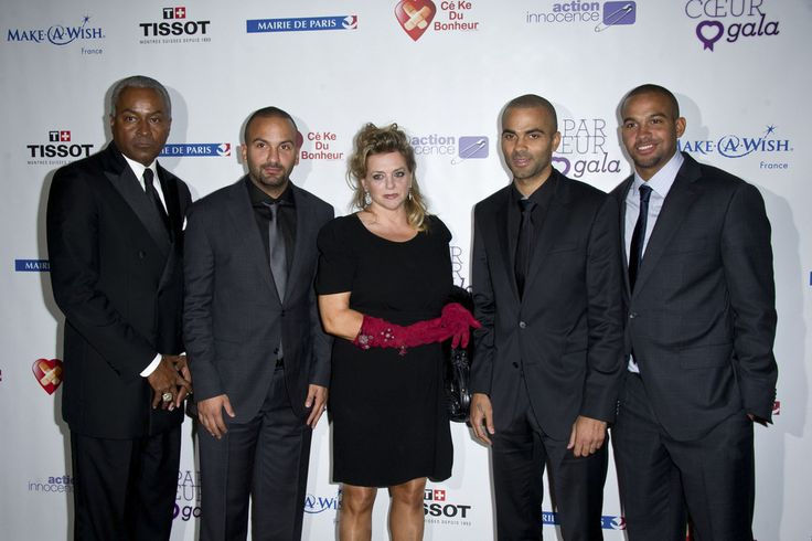 "Tony Parker Senior, TJ Parker, Pamela Firestone, Tony Parker and Pierre Parker at the ""Par Coeur"" Gala fundraising event at the Hotel de Ville in Paris. The annual event was hosted by basketball star Tony Parker, and raises money for charities including the 'Make a Wish' foundation."