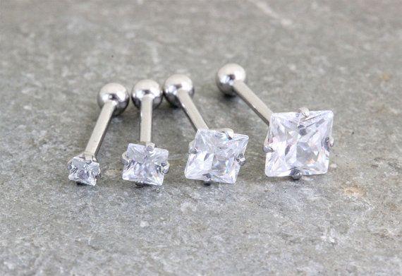Carré de cristal de Swarovski, boucle d'oreille Helix, conque Piercing, Cartilage oreille, Tragus bijoux, Double Helix, filetage, G 16 en acier chirurgical 18G