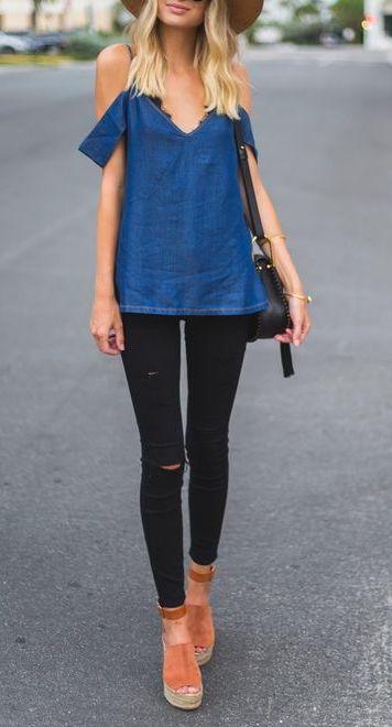 denim blue + black