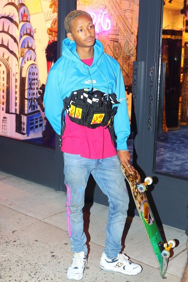 9f164c360da3 Jaden Smith wearing New Balance Men's 1700 Sneakers, MSFTSrep Next Gen  Hoodie
